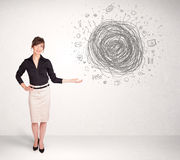Young business woman with media doodle scribble Stock Photos