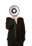 Young business woman with megaphone Stock Image