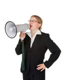 Young business woman with megaphone Royalty Free Stock Images
