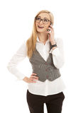 Young business woman with mobile phone Royalty Free Stock Image