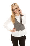 Young business woman with mobile phone. Isolated on white background Stock Photography