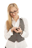 Young business woman with mobile phone Stock Photos