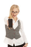 Young business woman with mobile phone Royalty Free Stock Photos