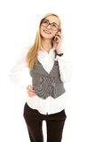 Young business woman with mobile phone Royalty Free Stock Photography