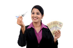 Young business woman with money Royalty Free Stock Image