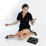 Young business woman multitasking Stock Images
