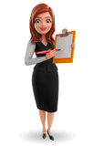 Young Business Woman with notepad Stock Photo