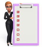 Young Business Woman with notepad Royalty Free Stock Photography