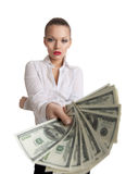 Young business woman offer a bundle of money Royalty Free Stock Images
