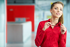 Young business woman in an office Royalty Free Stock Images