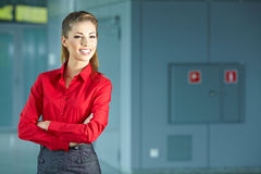 Young business woman in an office Stock Photos