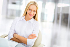 Young business woman in an office Stock Photography