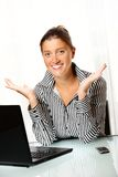 Young business woman with open hands Stock Images