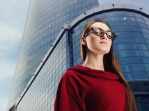 Young business woman out in the city Royalty Free Stock Photo