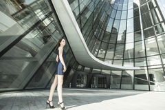Young business woman outdoor. Royalty Free Stock Image