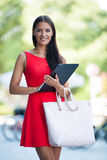 Young business woman outdoors on a summer day Royalty Free Stock Images