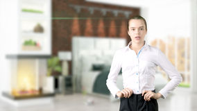 Young Business woman over interior background Royalty Free Stock Images