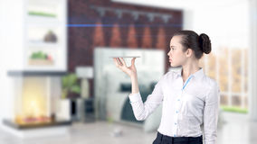 Young Business woman over interior background Stock Image