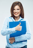 Young business woman with paper folder Stock Photography