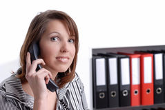Young business woman on the phone Royalty Free Stock Photos