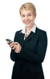 Young business woman with phone Stock Photos