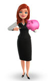 Young Business Woman with piggy bank Stock Photography