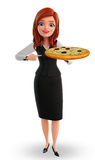 Young Business Woman with pizza Stock Images