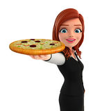 Young Business Woman with pizza Royalty Free Stock Photo