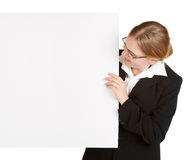 Young business woman with placard Royalty Free Stock Photo