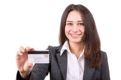 Young business woman with plastic card Royalty Free Stock Photography