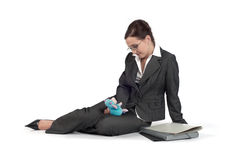 Young business woman playing with a toy Stock Image