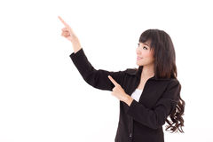Young business woman point her both hands up Royalty Free Stock Photos
