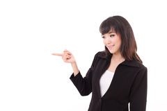 Young business woman point her finger sideward Stock Images