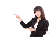 Young business woman point her hands and fingers away. Young business woman point her hands and fingers sideward, white isolated background Stock Images