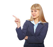 Young business woman pointing Stock Images