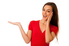 Young business woman pointing to copy space Royalty Free Stock Image