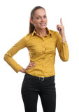 Young business woman pointing up Royalty Free Stock Photography