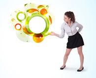 Young business woman presenting abstract copyspace Stock Photos