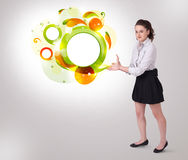 Young business woman presenting abstract copyspace Royalty Free Stock Images