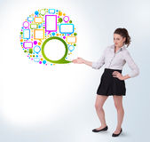 Young business woman presenting colourful speach bubble Stock Photography