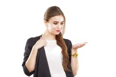 Young business woman presenting Stock Photo