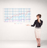 Young business woman presenting stock market diagram Royalty Free Stock Photo