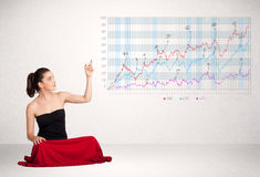 Young business woman presenting stock market diagram Royalty Free Stock Photos