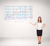 Young business woman presenting stock market diagram Royalty Free Stock Images