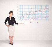 Young business woman presenting stock market diagram Stock Photos