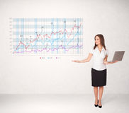 Young business woman presenting stock market diagram Royalty Free Stock Image