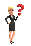 Young Business Woman with question mark sign Stock Photos