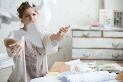 Young business woman in rage Stock Image