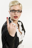 Young Business Woman with raised forefinger Royalty Free Stock Photography