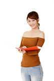 Young business woman reading Royalty Free Stock Photo
